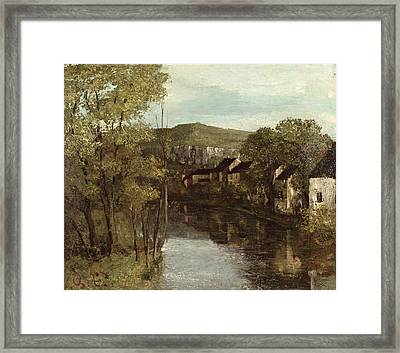 The Reflection Of Ornans Framed Print by Gustave Courbet