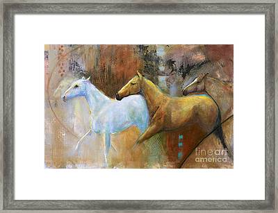 The Reflection Of The White Horse Framed Print by Frances Marino