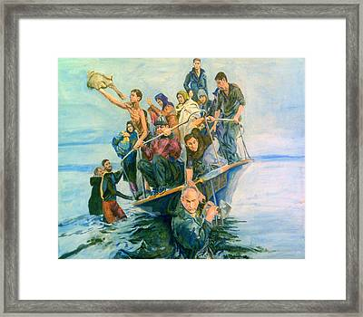The Refugees Seek The Shore Framed Print