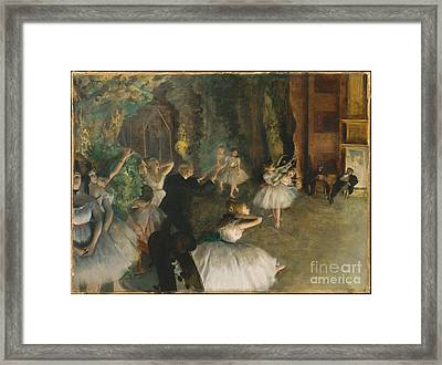 The Rehearsal Of The Ballet Onstage Framed Print by Edgar Degas