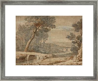 The Rest On The Flight Into Egypt Framed Print by Follower of Claude Lorrain