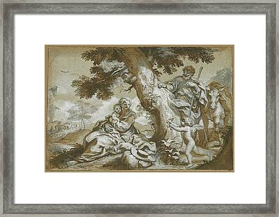 The Rest On The Flight Into Egypt Framed Print by Paolo Gerolamo Piola