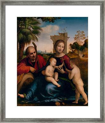 The Rest On The Flight Into Egypt With St. John The Baptist Framed Print by Fra Bartolomeo