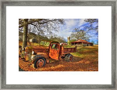 The Resting Place 2 Farm Life 1947 Dodge Dump Truck Art Framed Print by Reid Callaway