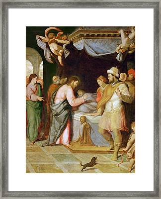 The Resurrection Of The Daughter Of Jairus Framed Print by Attributed to Santi di Tito