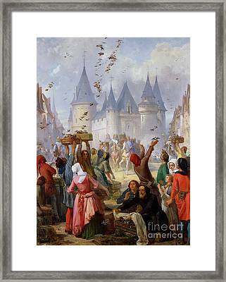 The Return Of Saint Louis Blanche Of Castille To Notre Dame Paris Framed Print