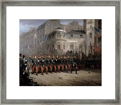 The Return Of The Troops To Paris From The Crimea Framed Print by Emmanuel Masse