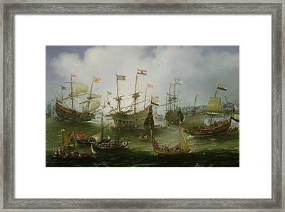 The Return To Amsterdam Of The Second Expedition To The East Indies Framed Print by Andries van Eertvelt