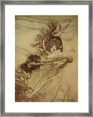 The Rhinemaidens Teasing Alberich Framed Print by Arthur Rackham