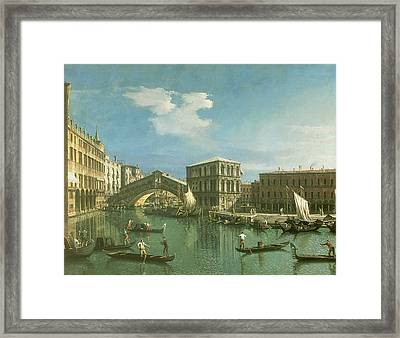 The Rialto Bridge Framed Print by Canaletto