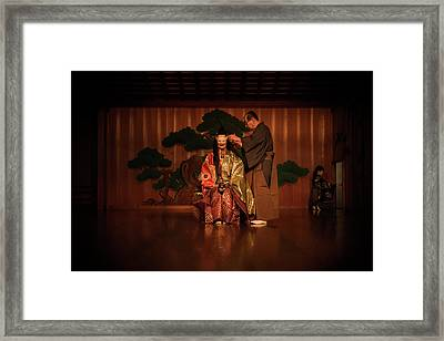 The Ritual Of The Costume In Noh Traditional Theater. Framed Print