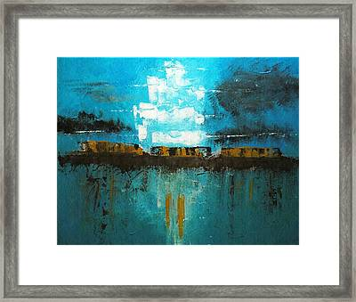 The River Barge And The Ghost Ship On The Big Muddy Framed Print