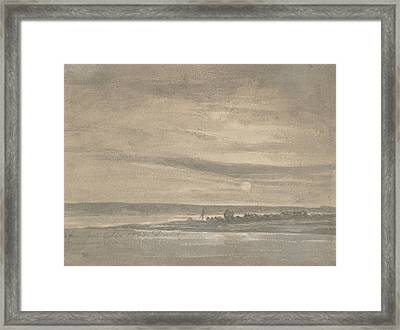 The River Elbe In Moonlight Framed Print