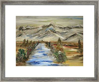 The River Flows Framed Print by Edward Wolverton