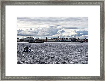 The River The Sky And Is A Little City Framed Print by Vadim Grabbe