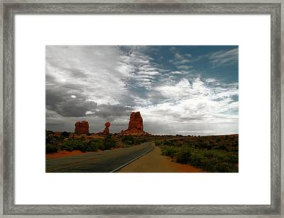 The Road By Balancd Rock Framed Print