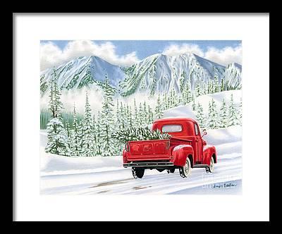 Christmas Card Paintings Framed Prints