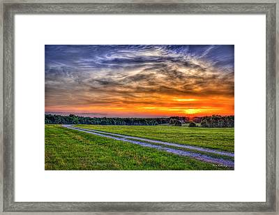The Road Home Sunset  Country Living Art Framed Print