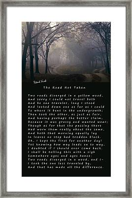The Road Not Taken Poem By Robert Frost Framed Print by Daniel Hagerman