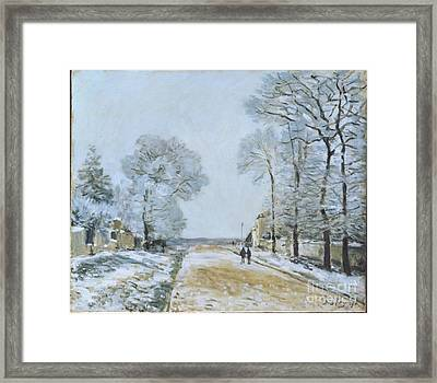 The Road, Snow Effect Framed Print by MotionAge Designs