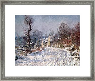 The Road To Giverny In Winter Framed Print by Claude Monet