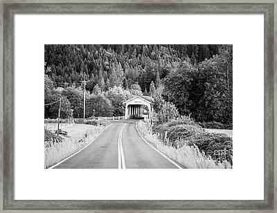 The Road To Grave Creek Covered Bridge - Bw Framed Print
