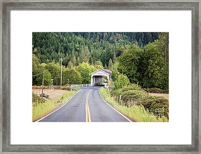 The Road To Grave Creek Covered Bridge - Grants Pass Framed Print