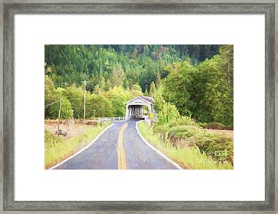 The Road To Grave Creek Covered Bridge - Digital Painting Framed Print