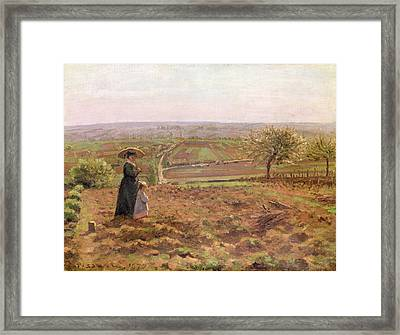 The Road To Rouen Framed Print by Camille Pissarro