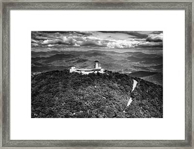 The Road Up To Brasstown Bald In Black And White Framed Print