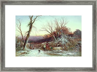 The Roadside Spring  Winter's Evening Framed Print