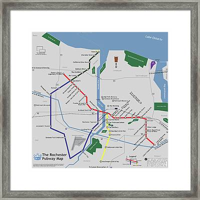 The Rochester Pubway Map Framed Print