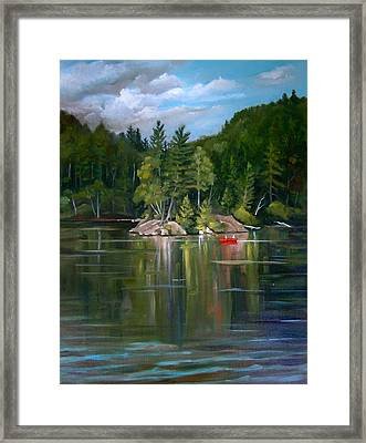The Rock On Mirror In Woodstock New Hampshire Framed Print