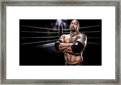 The Rock Wrestling Collection Framed Print by Marvin Blaine