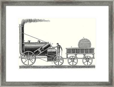The Rocket Locomotive Of George And Robert Stephenson Framed Print by English School