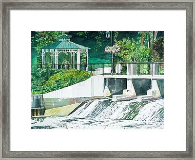 Framed Print featuring the painting The Rockford Dam by LeAnne Sowa