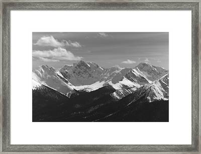 Framed Print featuring the photograph The Rockies - B/w by Josef Pittner