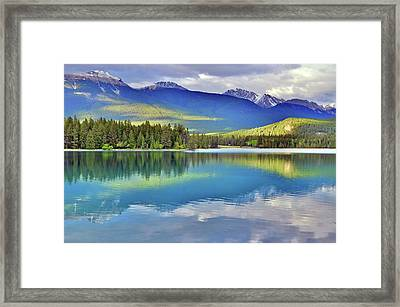 Framed Print featuring the photograph The Rockies Reflected In Lake Annette by Tara Turner