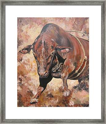 The Rodeo Bull Framed Print by Leonie Bell