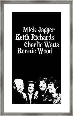 The Rolling Stones Musicians. Mick Jagger Keith Richards Charlie Watts Ronnie Wood Framed Print