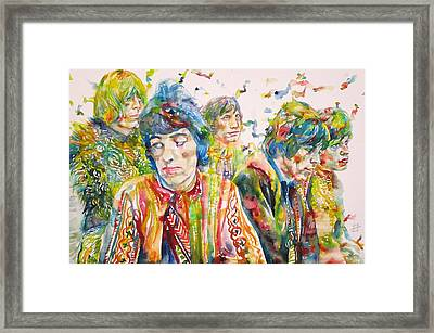 Framed Print featuring the painting The Rolling Stones - Watercolor Portrait by Fabrizio Cassetta