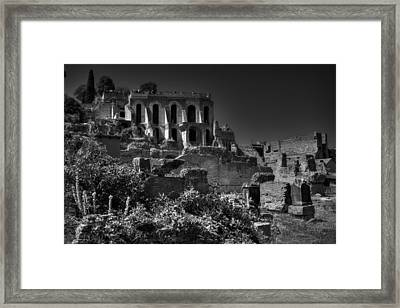 Framed Print featuring the photograph The Roman Forum 001 Bw by Lance Vaughn