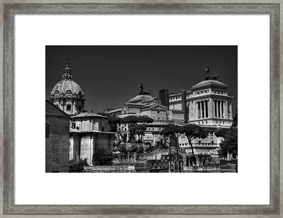 Framed Print featuring the photograph The Roman Forum 002 Bw by Lance Vaughn