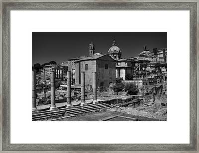 Framed Print featuring the photograph The Roman Forum 003 Bw by Lance Vaughn