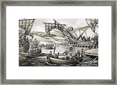 The Romans Under Julius Caesar Landed In 55bc At Dover Framed Print by Pat Nicolle