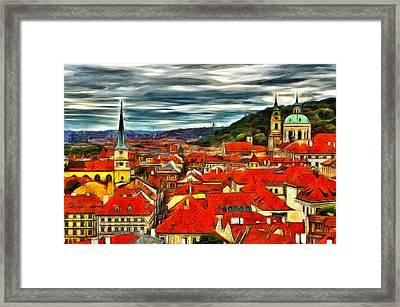The Rooftops Of Prague  Framed Print by Jean-Marc Lacombe