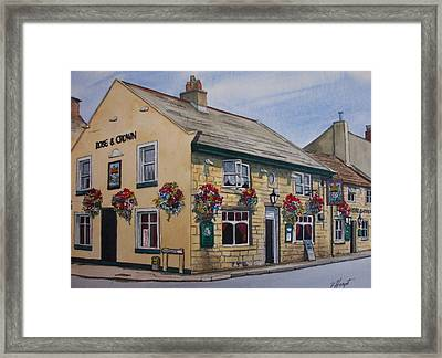 The Rose And Crown Otley Yorkshire Framed Print by Victoria Heryet