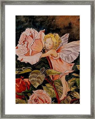 The Rose Fairy After Cicely Mary Barker Framed Print by Betty-Anne McDonald