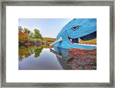 The Route 66 Blue Whale In Fall - Catoosa Oklahoma Framed Print by Gregory Ballos