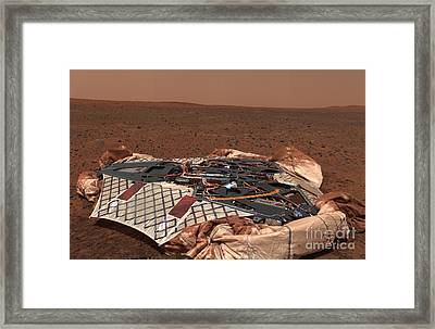 The Rovers Landing Site, The Columbia Framed Print by Stocktrek Images